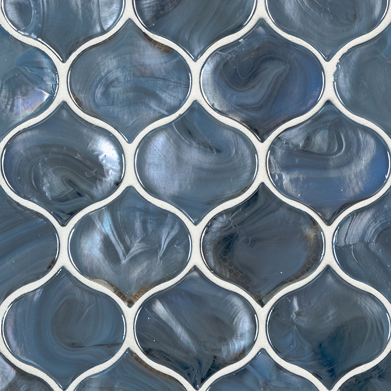 Blue Shimmer Arabesque Glass Tile