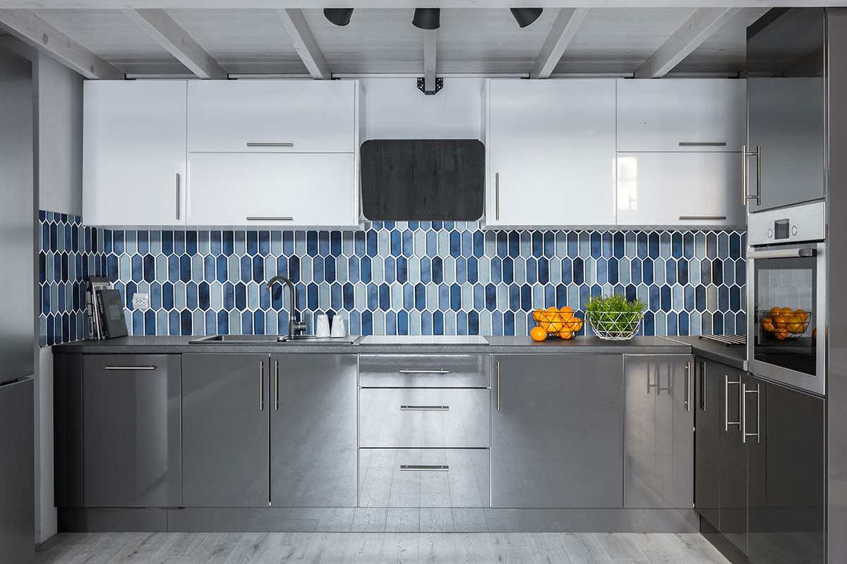 Boathouse Blue Picket Glass tile