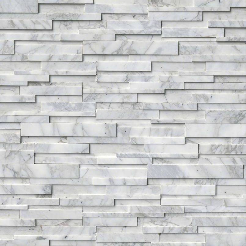 Calacatta Cressa 3D Honed Rockmount Stacked Stone Panels