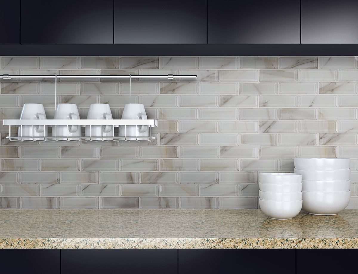 Ivory Amber Beveled Glass Subway Tile