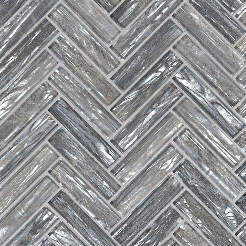 Shimmering Silver Glass Herringbone Tile