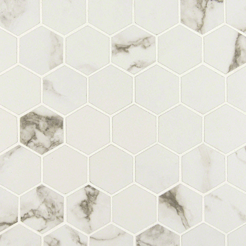 Statuario Matte Hexagon Mosaic Tile
