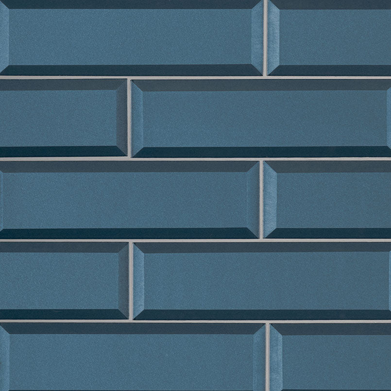 Tahiti Blue Beveled Glass Subway Tile