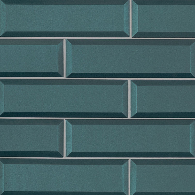 Verde Azul Beveled Glass Subway