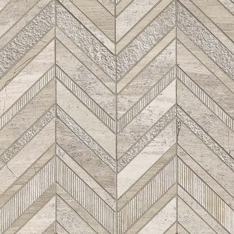 White Quarry Chevron Pattern Tile