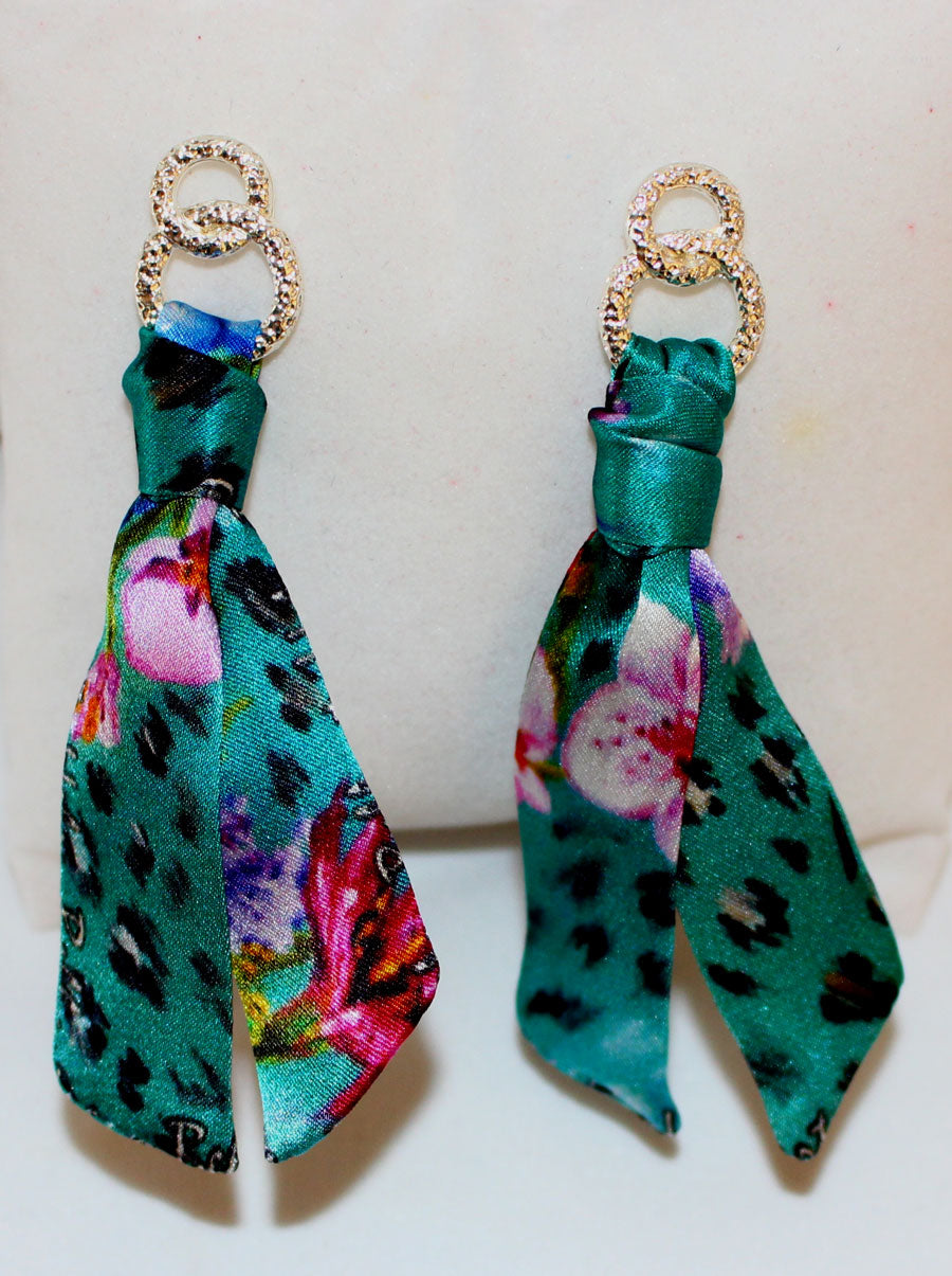 Blue Spring Silk Earring & Bracelet Set