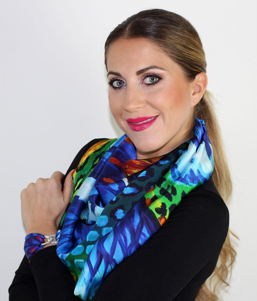 Blues Iris Silk Scarf