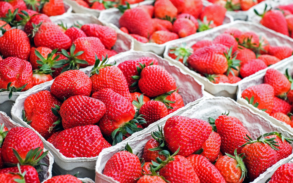 Cartons of fresh strawberries