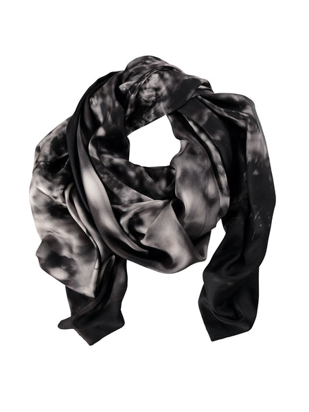 Small Black Silk Scarf