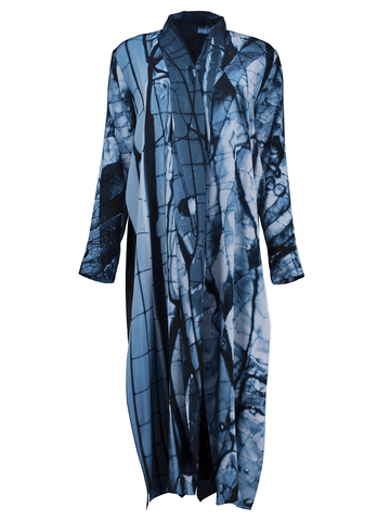 Metallic Blue Tucked Robe