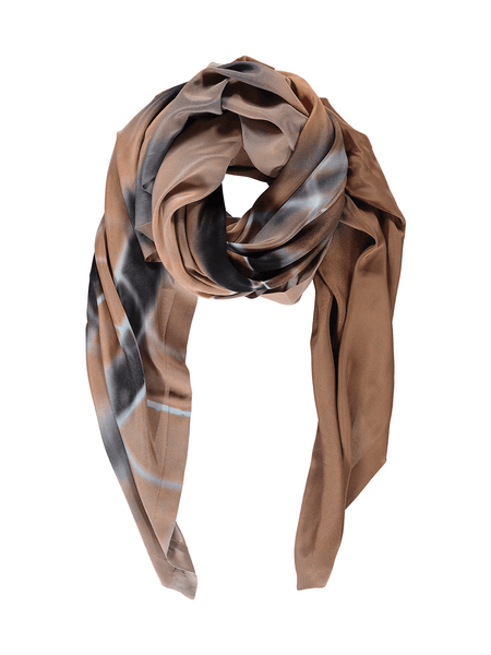 Orange Blue Hover Silk Scarf