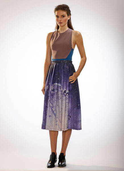 Mid Calf Double Pleated Skirt