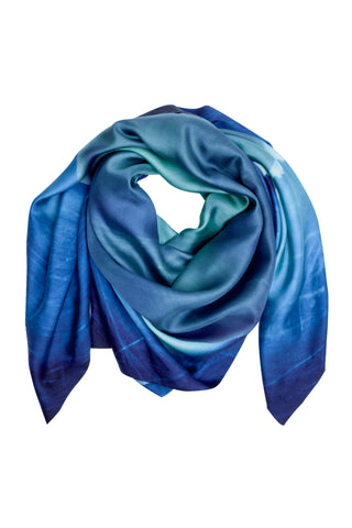 Small Aqua Silk Scarf