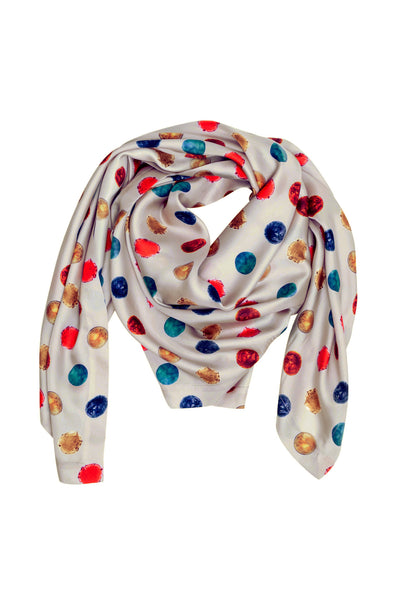 Light Grey Polka Dot Scarf