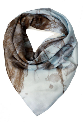 Ice Blue Lined Silk Scarf