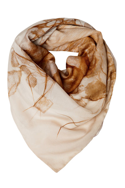 Sepia Orange Lined Silk Scarf