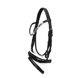 'Adeline' Black Italian Leather Bridle (Hanoverian) - Black
