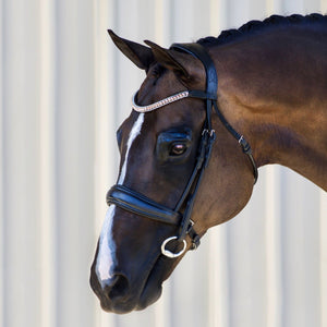 'Madeline' Rolled Leather Dressage Bridle - Full