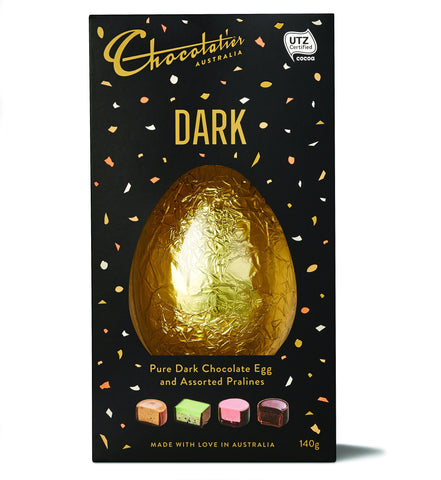 12 x Chocolatier Dark Chocolate Egg and Pralines 140g Chocolates Chocolatier Australia