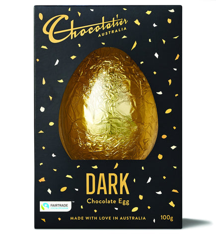 6 x Fair Trade Dark Chocolate Foiled Egg 100 g Chocolates Chocolatier Australia