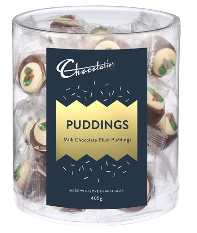 30 x Chocolatier Plum Puddings Milk Chocolate Chocolates Satisfine Foods