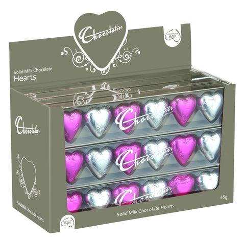 Chocolatier 6 Pack Hearts - Pink/Silver (12 units) 6 Pack Hearts Chocolatier Australia