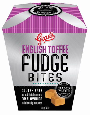 6 x Gran's Fudge - English Toffee Bites 140g (Gluten Free) Fudge Gran's