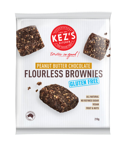 Kez's Kitchen - Chewy Flourless Brownies Peanut Butter GF/DF 210x6