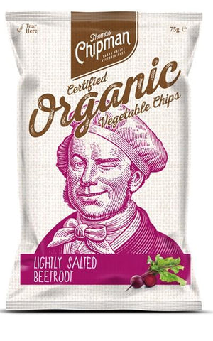 5 x Thomas Chipman Vegetable Chips Beetroot 75g Organic Chips Thomas Chipman