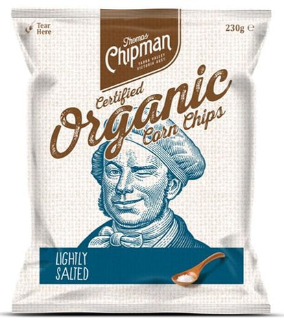 5 x Thomas Chipman Corn Chips Lightly Salted 230g Organic Chips Thomas Chipman