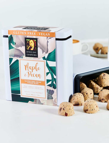 Byron Bay Cookie Company - Gift Tin Gluten Free Vegan Maple Pecan 200g x 6