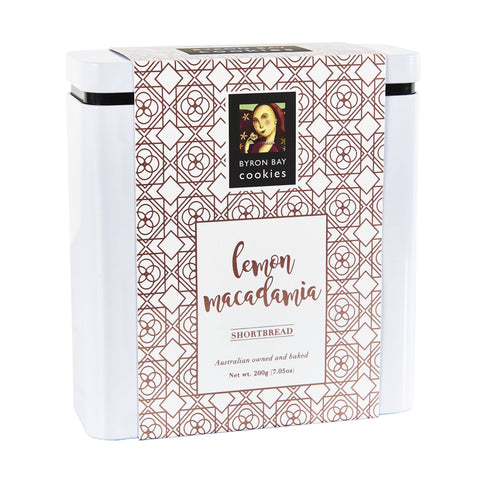 6 x Byron Bay Cookie Luxe Gift Tins - Lemon Macadamia Shortbread 200g Biscuits Byron Bay Cookie