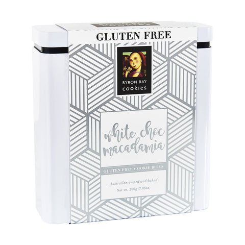 6 x Byron Bay Cookie Luxe Gift Tins - Gluten Free White Choc Macadamia 200g Biscuits Byron Bay Cookie