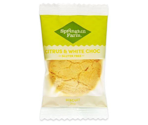 18 x Springhill Farm Biscuits (Individually Wrapped) - Citrus & White Choc GLUTEN FREE Biscuits Springhill Farm