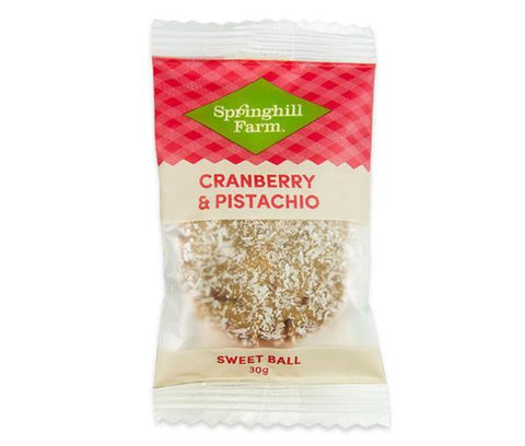 16 x Springhill Farm Sweet Ball (Individually Wrapped) - Cranberry & Pistachio Springhill Farm