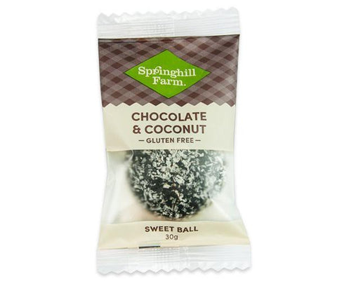 16 x Springhill Farm Sweet Ball (Individually Wrapped) - Chocolate & Coconut GLUTEN  FREE