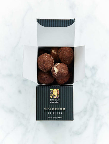 Byron Bay Cookie Company - Gift Box Triple Choc Fudge Cookies 75g x 12