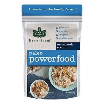 8 x Brookfarm Macadamia Powerfood 330g Muesli/Bars Brookfarm