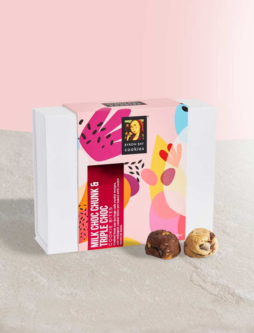 Byron Bay Cookie Company - Celebrations Gift Box Milk Choc Chunk & Triple Choc Fudge 300g x 6