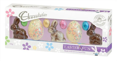 Chocolatier Bunnies With Speckled Eggs & Mini Eggs New