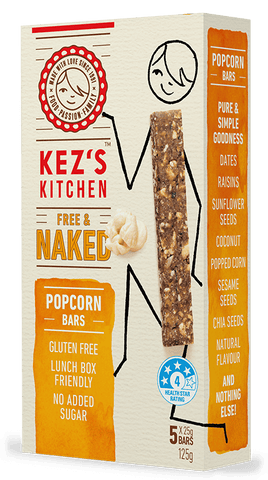 Free & Naked Gluten Free Popcorn Bars 9 x 125g Fruit & Nut Slices Kezs