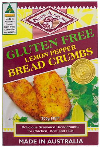 KookaKrumb - Gluten Free Lemon Pepper Breadcrumbs 200g x 12
