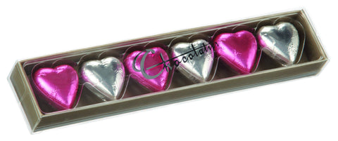 Chocolatier 6 Pack Hearts - Pink/Silver  (12 units)
