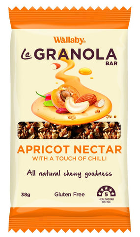 10 x Wallaby Le granola Bar - Apricot Nectar, With a touch of Chilli