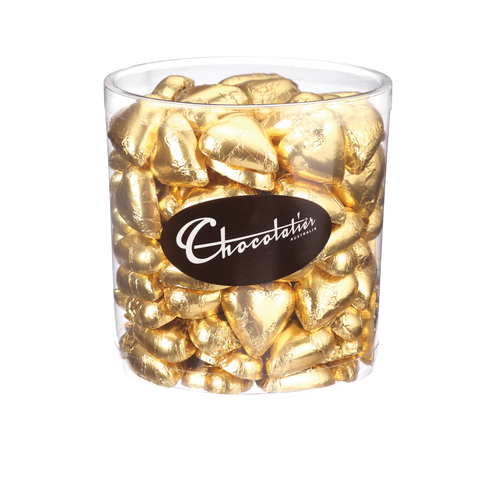 Chocolatier Wrapped Bulk Chocolate - Hearts Plain Gold Tub 1 kg (Milk) Approx. 120