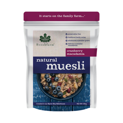 Brookfarm - Natural Macadamia Muesli with Cranberry 1.5 kg x 6