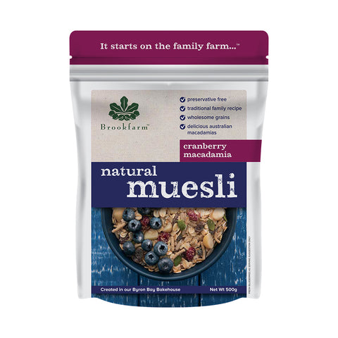 Brookfarm - Natural Macadamia Muesli with Cranberry 500g x 6