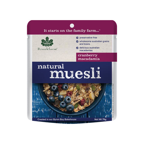 Brookfarm Muesli - Natural Muesli Sachet With Cranberries 75g x 20