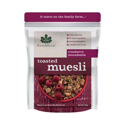 Brookfarm - Toasted Macadamia Muesli with Cranberry 1.5kg x 6