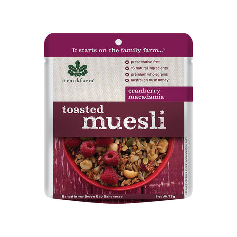 Brookfarm Muesli - Toasted Macadamia Muesli Sachet With Cranberries 75g x 20